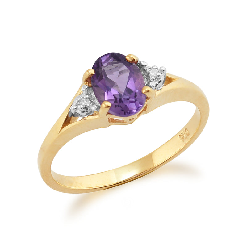 Classic Amethyst & Diamond Ring in 9ct Yellow Gold