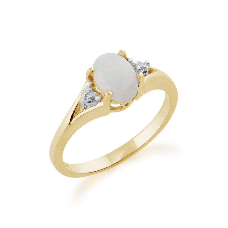 Oval Opal & Diamond Ring in 9ct Gold