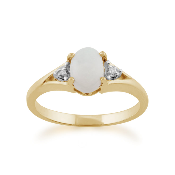 Classic Oval Opal & Diamond Ring in 9ct Yellow Gold