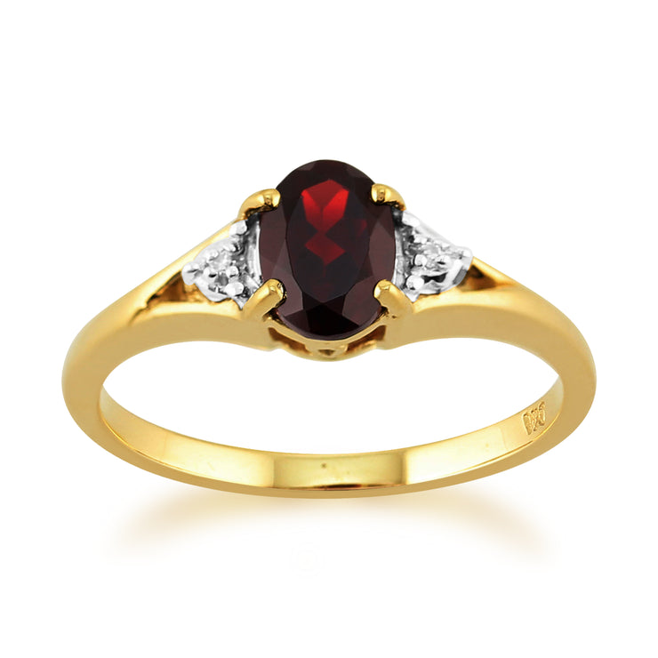 Classic Oval Garnet & Diamond Ring in 9ct Yellow Gold
