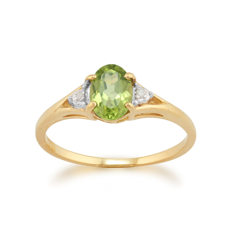 Classic Oval Peridot & Diamond Ring in 9ct Yellow Gold