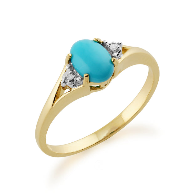 Classic Oval Turquoise & Diamond Ring in 9ct Yellow Gold