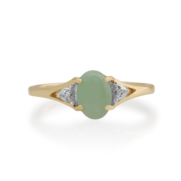 Classic Oval Jade & Diamond Ring in 9ct Yellow Gold