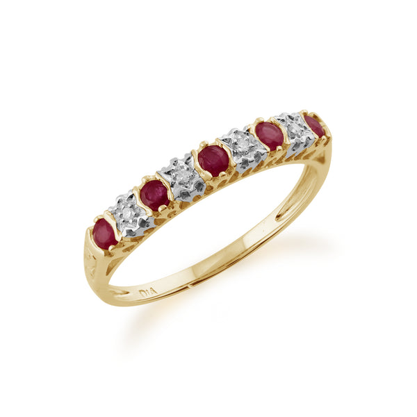 Classic Ruby & Diamond Half Eternity 9ct Yellow Gold  Ring