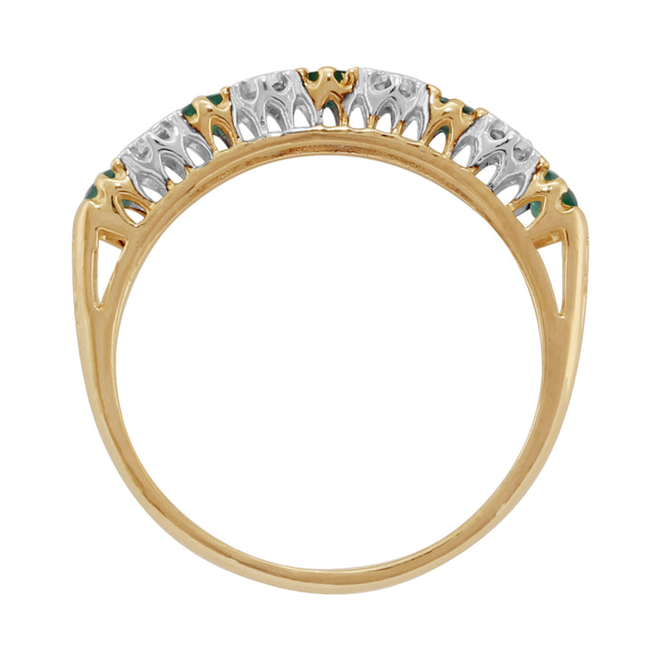 10ct Yellow Gold Emerald & Diamond Half Eternity Ring