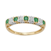 Classic Emerald & Diamond Eternity Ring in 9ct Yellow Gold