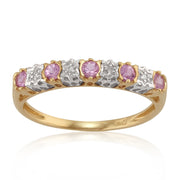 Classic Round Pink Sapphire & Diamond Half Eternity Ring in 9ct Yellow Gold