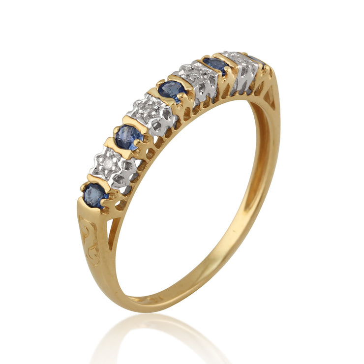 Classic Round Blue Sapphire & Diamond Half Eternity Ring in 9ct Yellow Gold