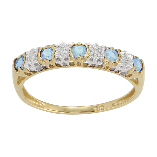 Classic Round Blue Topaz & Diamond Eternity Ring in 9ct Yellow Gold