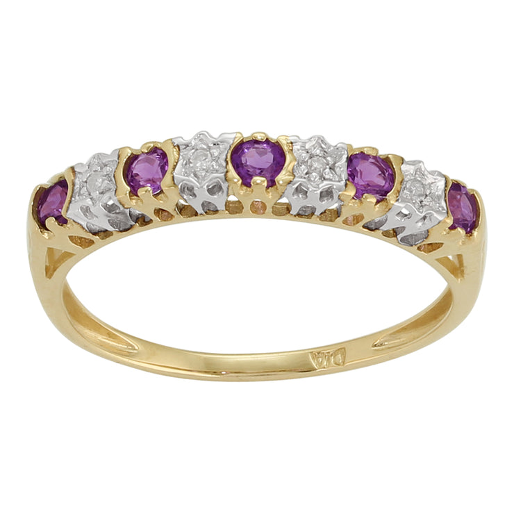 Classic Round Amethyst & Diamond Half Eternity Ring in 9ct Yellow Gold