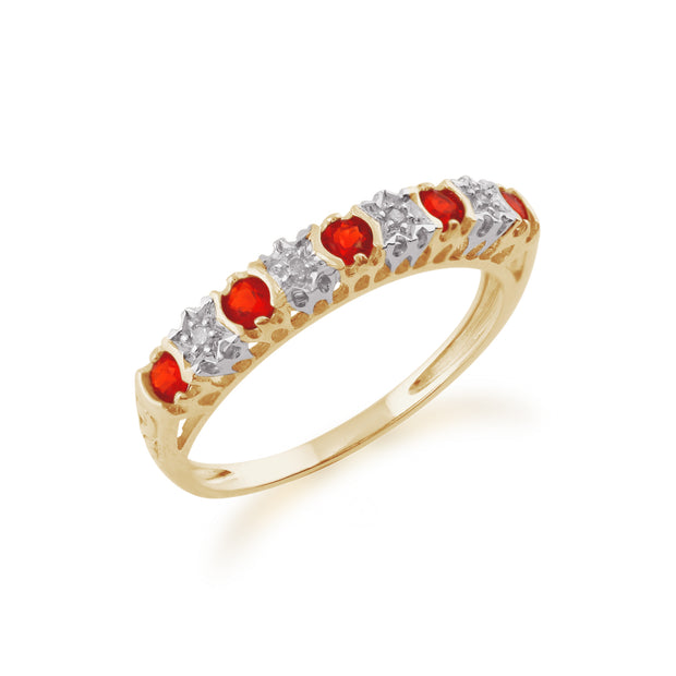 Classic Round Fire Opal & Diamond Half Eternity Ring in 9ct Yellow Gold