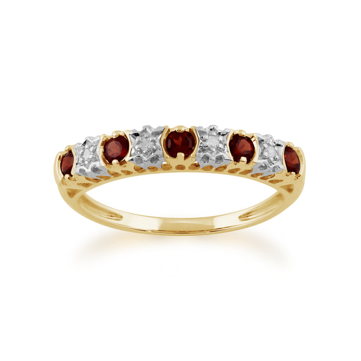 Classic Round Garnet & Diamond Half Eternity Ring in 9ct Yellow Gold