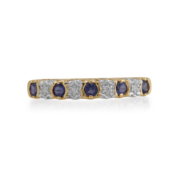 Gemondo 9ct Yellow Gold 0.18ct Iolite & 2pt Diamond Half Eternity Band Ring Image 2