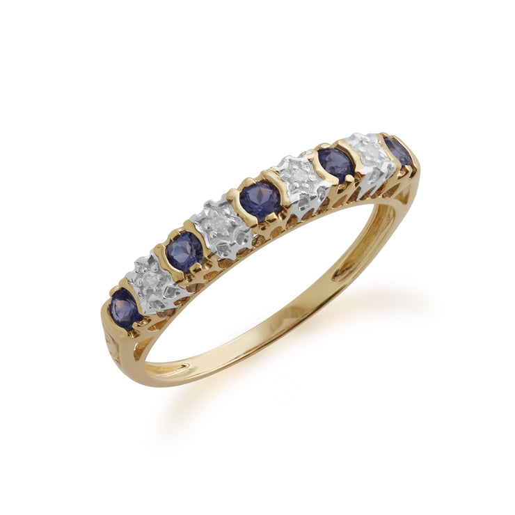 Gemondo 9ct Yellow Gold 0.18ct Iolite & 2pt Diamond Half Eternity Band Ring Image 1
