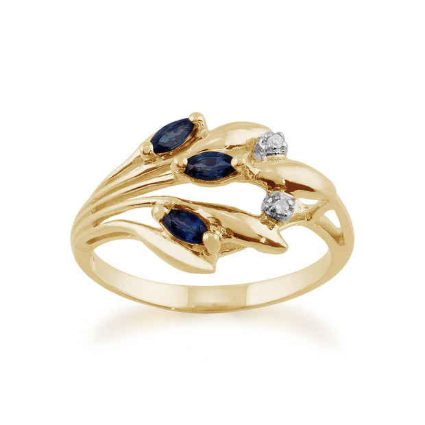 Floral 0.22ct Marquise Sapphire & Diamond Ring in 9ct Yellow Gold