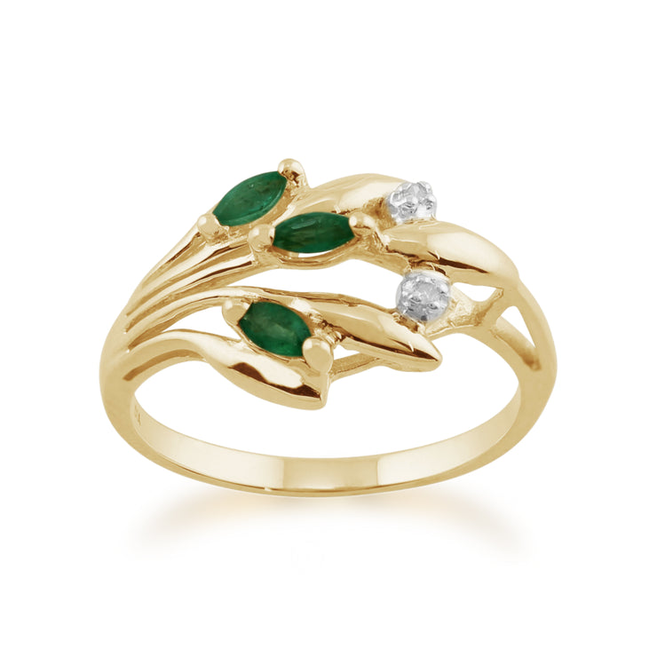 Floral 0.17ct Marquise Emerald & Diamond Ring in 9ct Yellow Gold