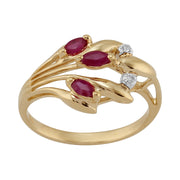 Floral 0.24ct Marquise Ruby & Diamond 9ct Yellow Gold  Ring