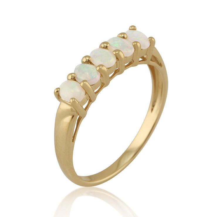 Classic 0.47ct Oval Opal Five Stone Ring in 9ct Yellow Gold