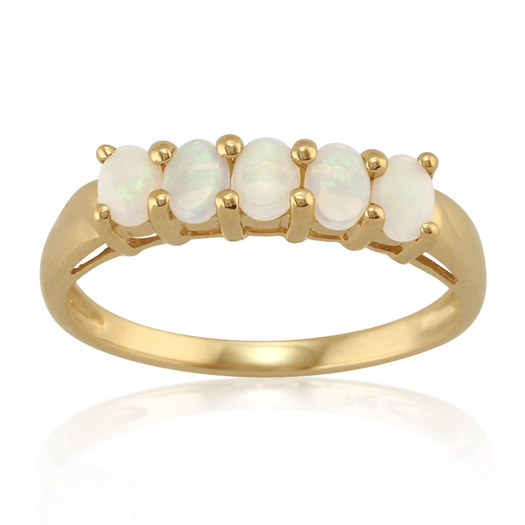 Five Stone Opal Ring in Yellow Gold