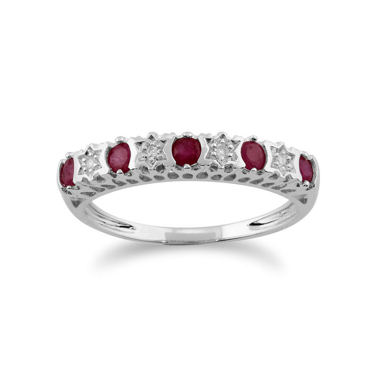 Classic Round Ruby & Diamond Half Eternity Ring in 9ct White Gold