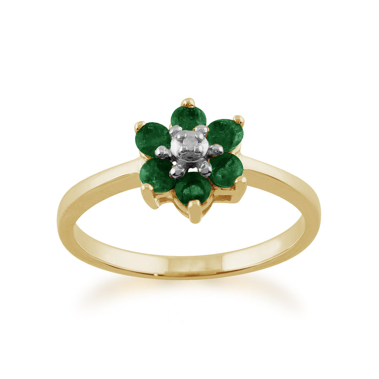 Floral Round Emerald & Diamond Cluster Ring in 9ct Yellow Gold