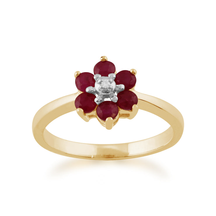 Floral Round Ruby & Diamond Cluster Ring in 9ct Yellow Gold