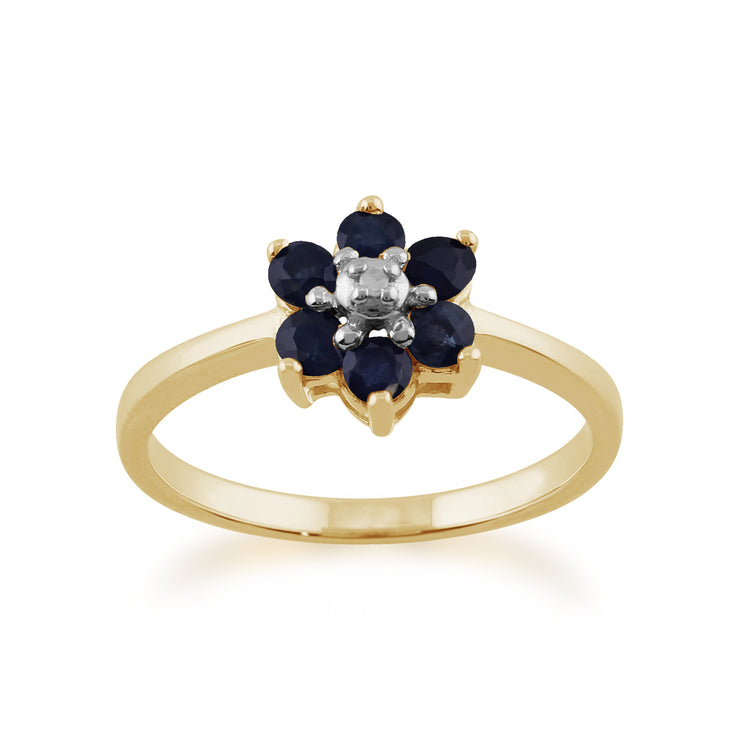 Floral Round Sapphire & Diamond Cluster Ring in 9ct Yellow Gold
