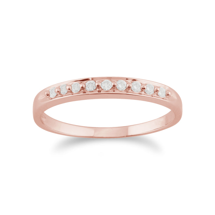 10ct Rose Gold Diamond Classic Style Eternity Ring - Gemondo