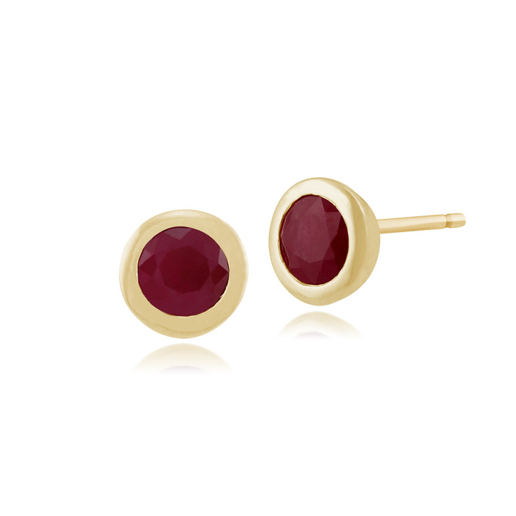 Classic Round Ruby Stud Earrings in 9ct Yellow Gold 6mm