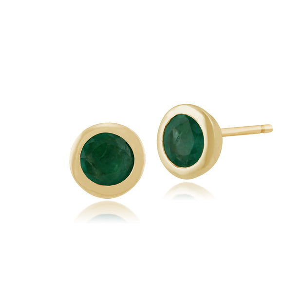 Classic Round Emerald Stud Earrings in 9ct Yellow Gold 6mm