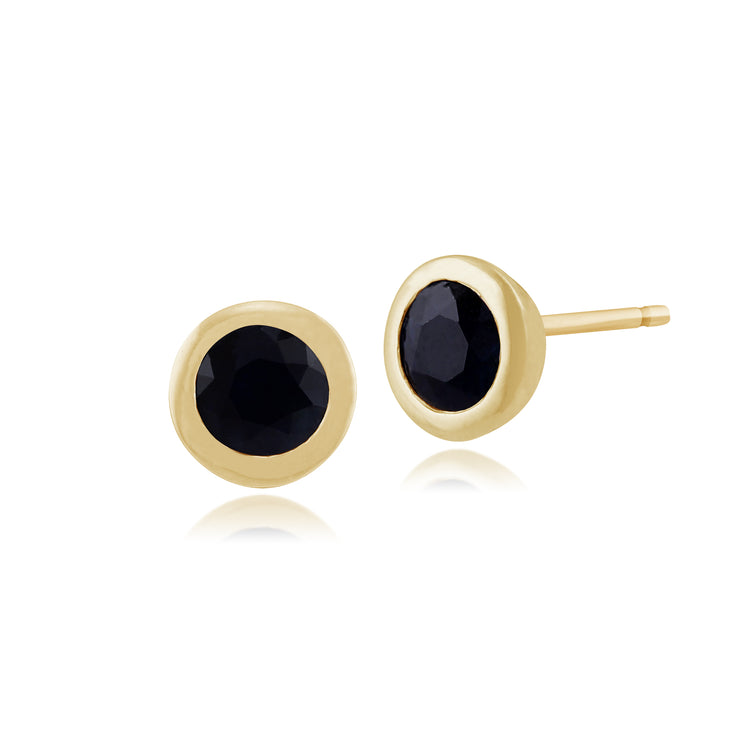 Classic Round Sapphire Stud Earrings in 9ct Yellow Gold 6mm