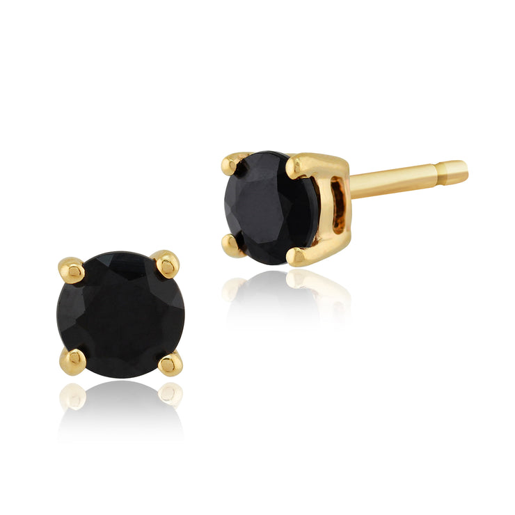 Classic Round Dark Blue Sapphire Stud Earrings with Detachable Diamond Square Earrings Jacket Set in 9ct Yellow Gold