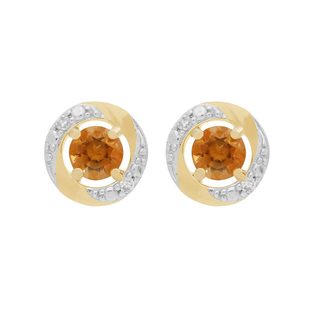 Classic Citrine Stud Earrings & Diamond Halo Ear Jacket Image 1