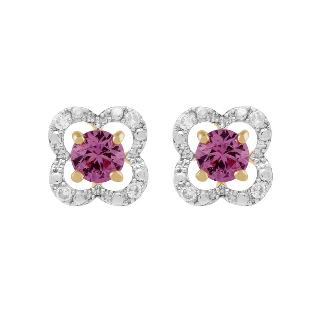 Classic Pink Sapphire Studs & Diamond Floral Ear Jacket Image 1