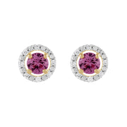 Classic Pink Sapphire Stud Earrings & Diamond Round Earrings Jacket Set Image 1