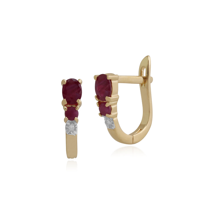 Classic Oval Ruby & Diamond Omega Back Hoop Earrings in 9ct Yellow Gold