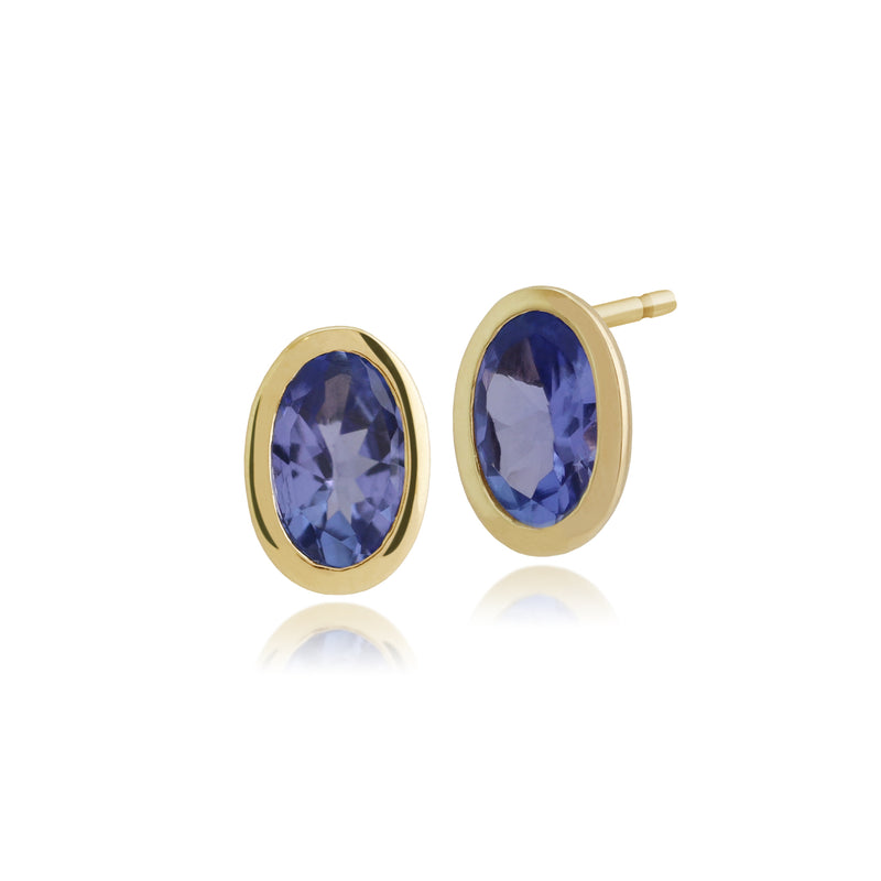 Classic Oval Tanzanite Bezel Stud  Earrings in 9ct Yellow Gold