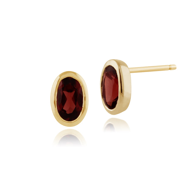 Classic Oval Garnet Stud Earrings in 9ct Yellow Gold