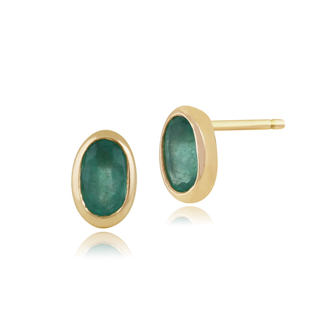 Classic Oval Emerald Stud Earrings in 9ct Yellow Gold 6.5x4mm