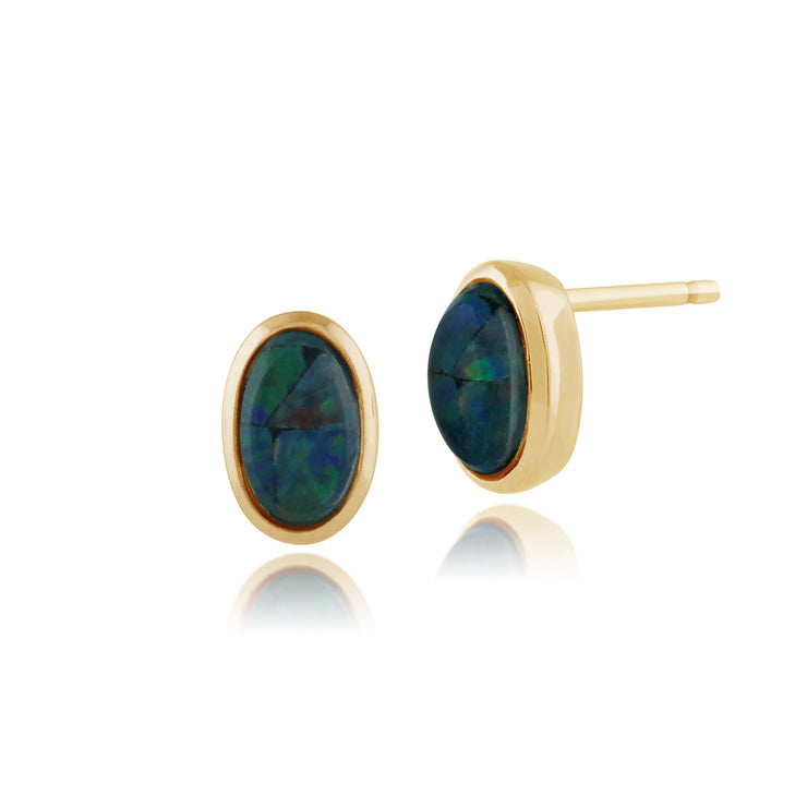 Classic Oval Triplet Opal Stud Earrings in 9ct Yellow Gold 5x3mm
