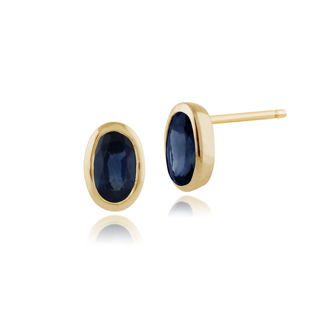 Classic Oval Light Blue Sapphire Stud Earrings in 9ct Yellow Gold