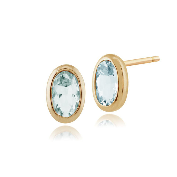 Classic Oval Aquamarine Stud Earrings in 9ct Yellow Gold 6x4mm