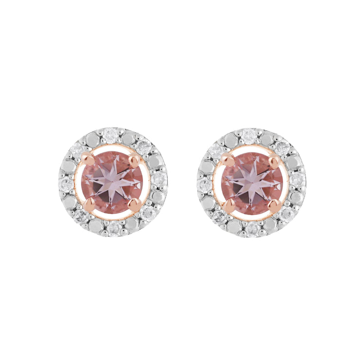 Classic Morganite Stud Earrings & Diamond Round Ear Jacket Image 1