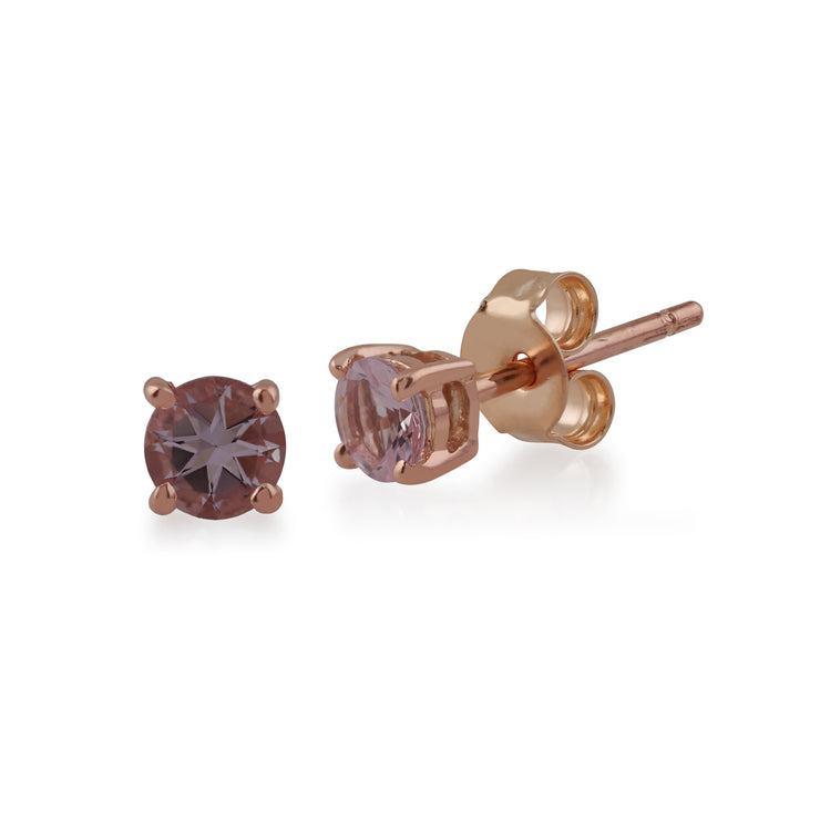 Classic Round Morganite Stud Earrings with Detachable Diamond Round Earrings Jacket Set in 9ct Rose Gold
