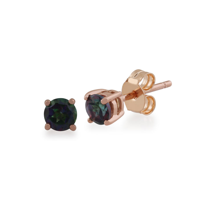 Classic Round Mystic Topaz Stud Earrings with Detachable Diamond Round Earrings Jacket Set in 9ct Rose Gold