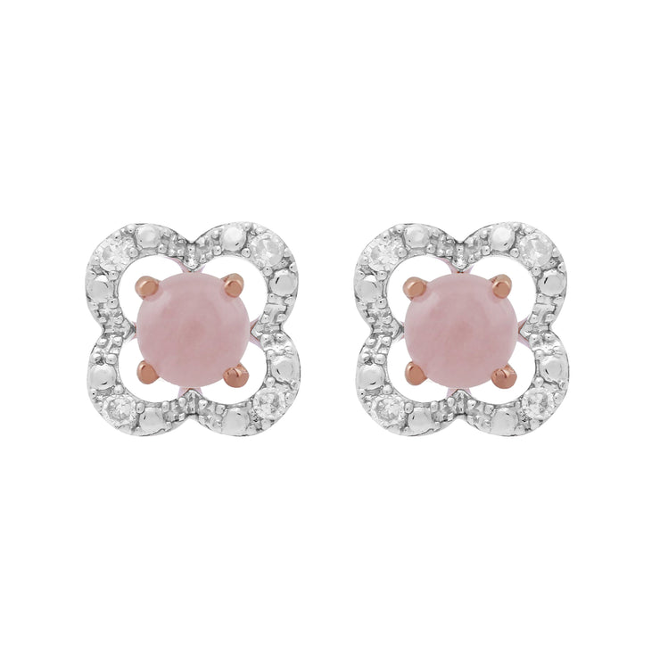 Classic Round Rose Quartz Stud Earrings with Detachable Diamond Flower Jacket in 9ct Rose Gold