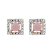 Classic Rose Quartz Stud Earrings & Diamond Square Ear Jacket Image 1