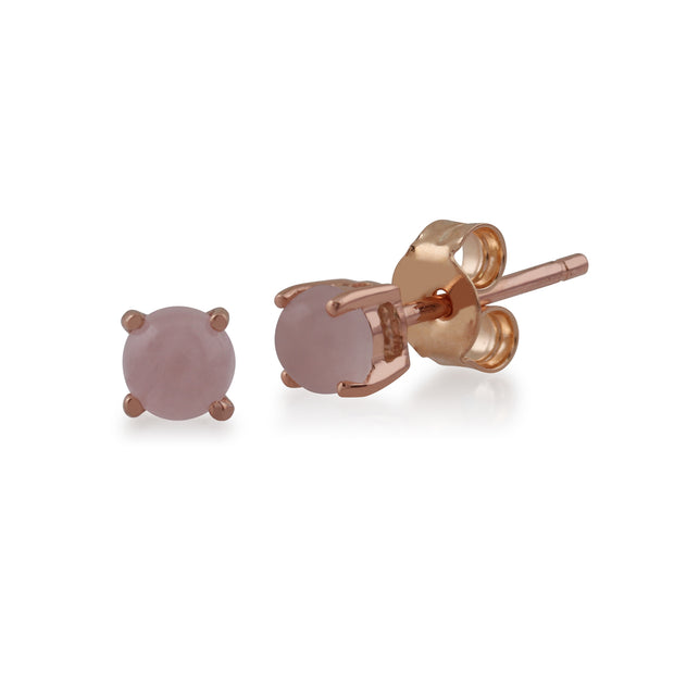Classic Round Rose Quartz Stud Earrings with Detachable Diamond Round Earrings Jacket Set in 9ct Rose Gold