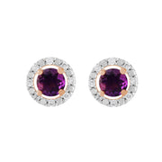 Classic Round Amethyst Stud Earrings with Detachable Diamond Round Ear Jacket in 9ct Rose Gold