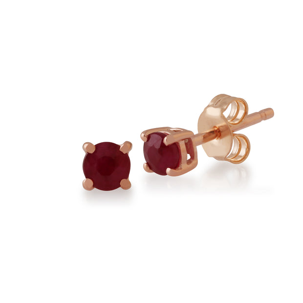 Classic Round Ruby Stud Earrings with Detachable Diamond Flower Jacket in 9ct Rose Gold